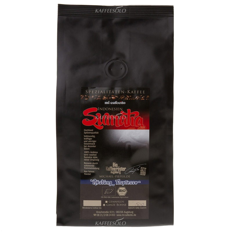 mi cafecito sumatra mandheling bio espresso 500g bohnen 13 29 eur. Black Bedroom Furniture Sets. Home Design Ideas